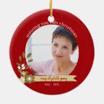 Memorial Christmas with Jesus custom photo name Ceramic Ornament