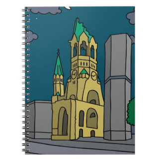 Memorial Church Berlin (Gedächtniskirche) at night Notebook