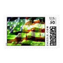 Memorial Day american flag art Postage