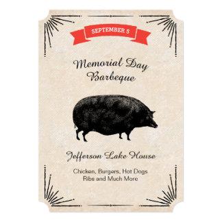 Memorial Day Barbeque BBQ Picnic Black Vintage Pig 5x7 Paper Invitation Card