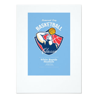 Memorial Day Basketball Retro Poster 14 Cm X 19 Cm Invitation Card