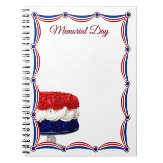 Memorial Day blanco y azul rojo de la torta del em Libretas Espirales