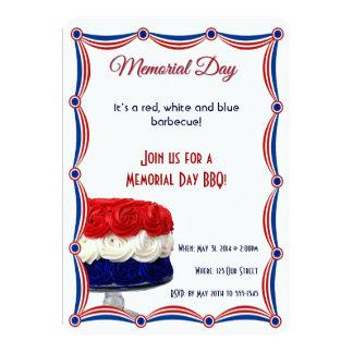 """Memorial Day blanco y azul rojo de la torta del Invitación 5"""" X 7"""""""