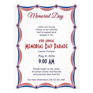Memorial Day blanco y azul rojo del empavesado Flyer A Todo Color