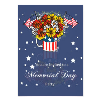 Memorial Day Card Party Invitation With Flowers In