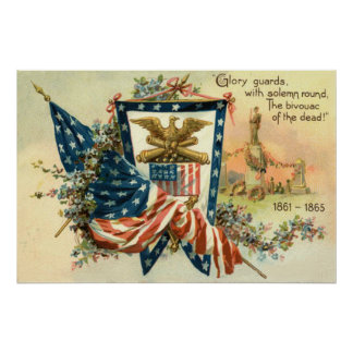 Memorial Day de Eagle de la guerra civil de la flo Póster
