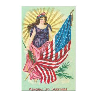 Memorial Day de señora Liberty de la bandera de lo Lona Envuelta Para Galerías