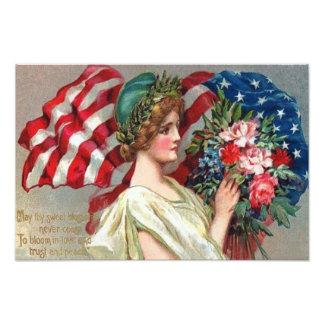 Memorial Day de señora Liberty Wreath de la bander Fotografia