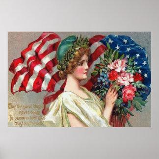 Memorial Day de señora Liberty Wreath de la bander Póster
