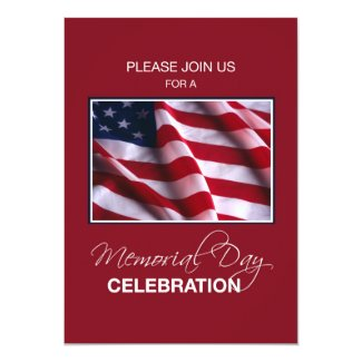 Memorial Day Event Invitation, Flag on Red, White,