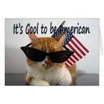 Memorial Day feliz - gato fresco con la bandera Tarjeta De Felicitación