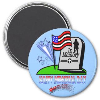 Memorial Day feliz - imán de la lápida mortuaria d