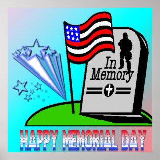 Memorial Day feliz - poster de la lápida mortuaria