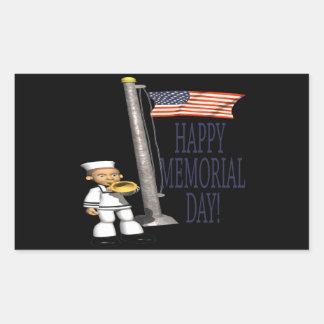 Memorial Day feliz Rectangular Pegatinas