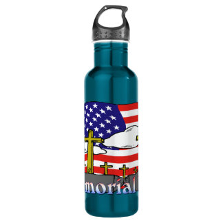 Memorial Day - Flag Gravestone 24oz Liberty Bottle 24oz Water Bottle