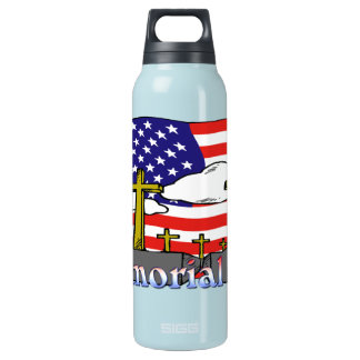 Memorial Day - Flag Gravestone 24oz Liberty Bottle 16 Oz Insulated SIGG Thermos Water Bottle