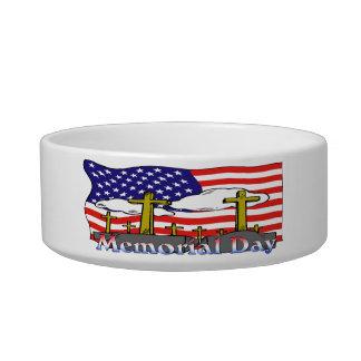 Memorial Day - Flag Gravestone Cat Pet Bowl