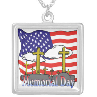 Memorial Day - Flag Gravestone Necklace