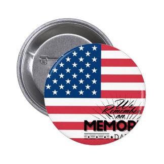 Memorial Day Flag Pinback Button