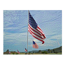 Memorial Day Flags Postcard