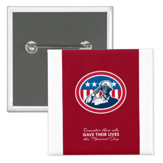Memorial Day Greeting Card African American Soldie Pinback Button