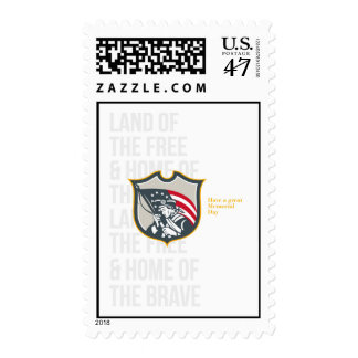 Memorial Day Greeting Card Patriot Holding America Postage