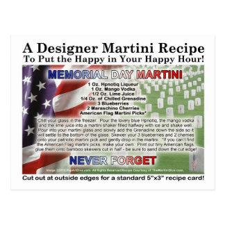Memorial Day Martini Recipe Card Postcard