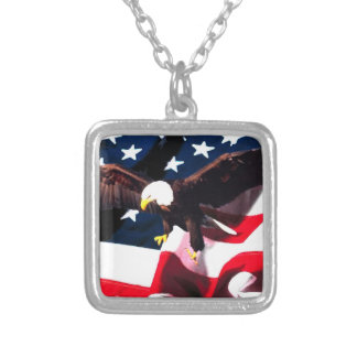 Memorial Day n4 Square Pendant Necklace