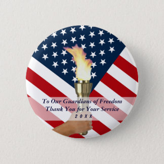 Memorial Day or Veterans Day Military Thank you Pinback Button