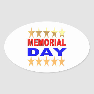 Memorial Day Oval Sticker