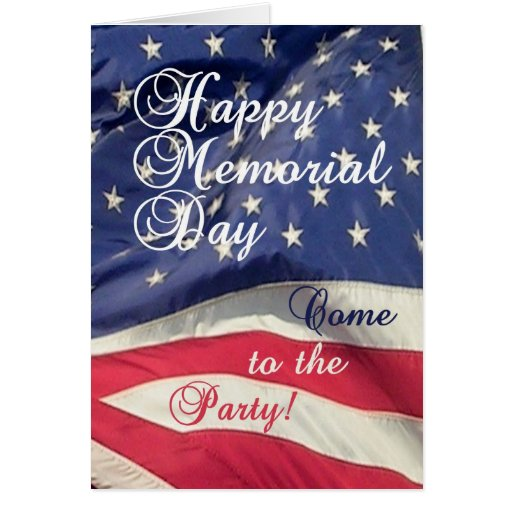Memorial Day Party Invitation-U.S. Flag Greeting Card