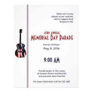 Memorial Day patriótico de la guitarra de la bande Tarjetón