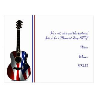 Memorial Day patriótico de la guitarra de la bande Tarjetas Postales