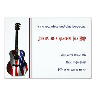 """Memorial Day patriótico de la guitarra de la Invitación 3.5"""" X 5"""""""