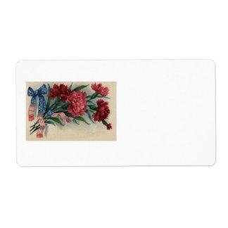 Memorial Day rojo del clavel de la cinta de los Etiquetas De Envío