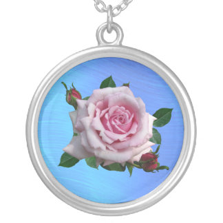 MEMORIAL DAY ROSE-NECKLACE ROUND PENDANT NECKLACE