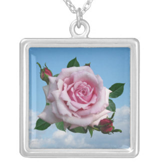 MEMORIAL DAY ROSE-NECKLACE SQUARE PENDANT NECKLACE
