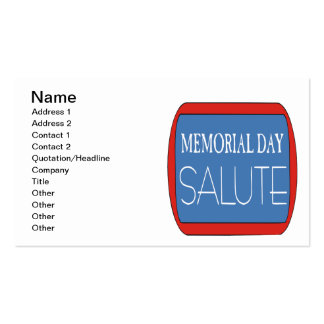 Memorial Day Salute Double-Sided Standard Business Cards (Pack Of 100)