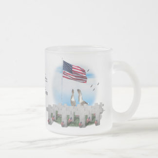Memorial Day Saluting Geese 10 Oz Frosted Glass Coffee Mug