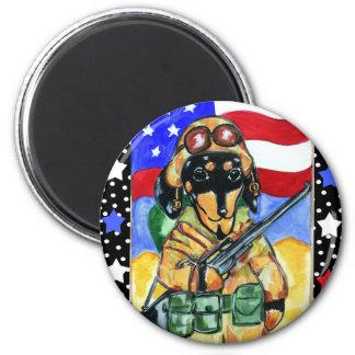 Memorial Day Soldier Dachshund 2 Inch Round Magnet