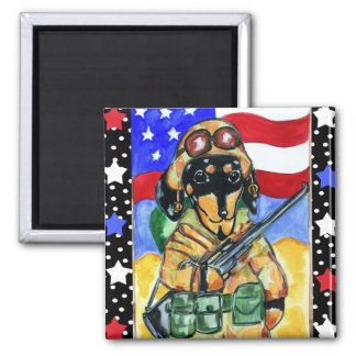 Memorial Day Soldier Dachshund 2 Inch Square Magnet