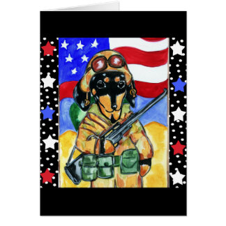 Memorial Day Soldier Dachshund Card