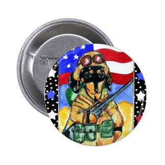 Memorial Day Soldier Dachshund Pinback Button