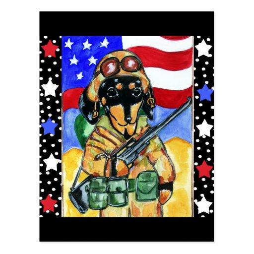 Memorial Day Soldier Dachshund Postcard