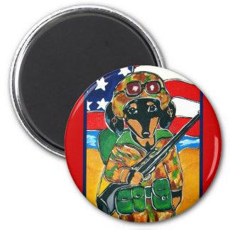 Memorial Day - Soldier Doxie 2 Inch Round Magnet