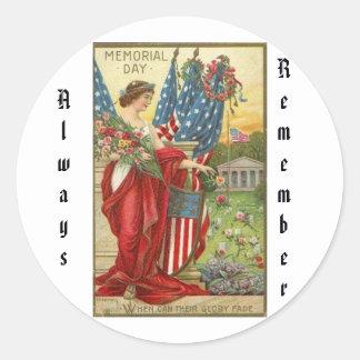 Memorial Day Classic Round Sticker