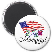 Memorial Day, USA Flag and Rose Magnet