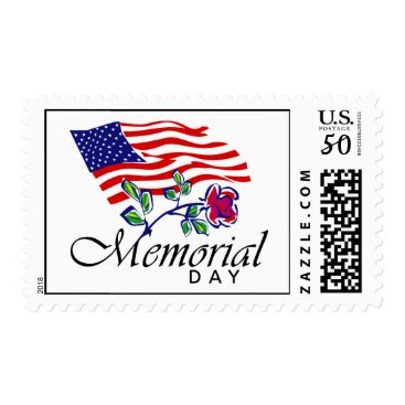Memorial Day, USA Flag and Rose Postage