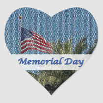 Memorial Day USA Flag Palm Tree Heart Sticker
