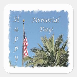 Memorial Day  USA Flag & Palm Tree Square Sticker